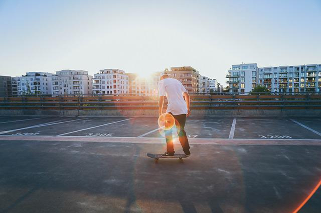Buildings, Man, Outdoors, Parking, Person, Skateboarder