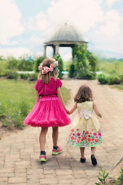 Little Girls Walking, Summer, Outdoors, Pretty
