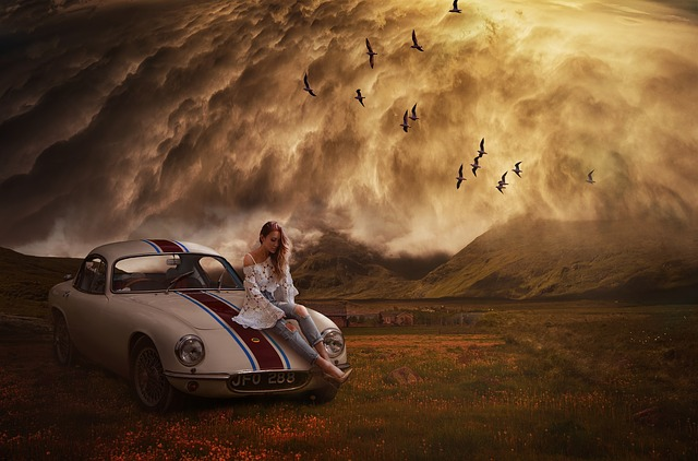 Travel, Outdoors, Vehicle, Sunset, Adventure, Photoshop
