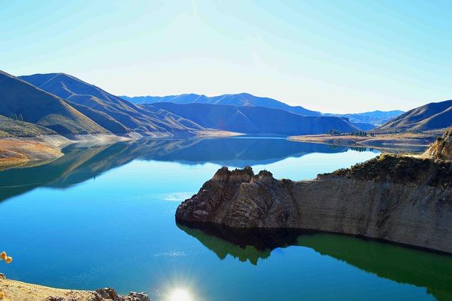 Landscape, Lake, Blue, Water, Mountain, Rocks, Outlet