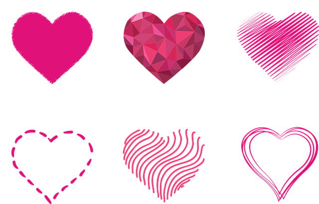 Heart, Outlines, Prism, Dashed, Contour, Lines, Red