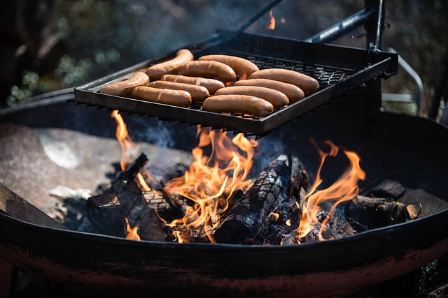 Sausages, Fire, Picnic, Outside