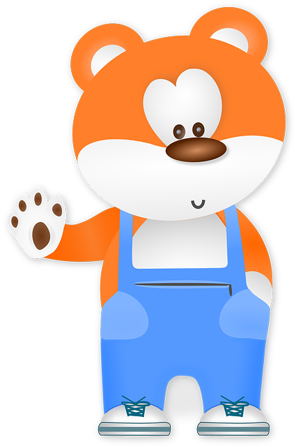 Bear, Animal, Cute, Overalls, Waving, Hello, Paw