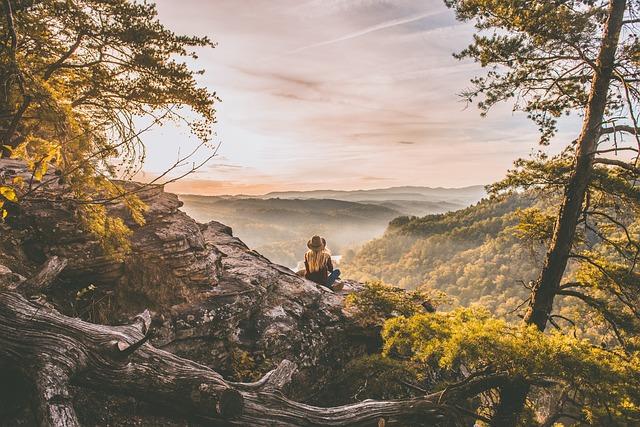 Woman, Sitting, Peak, Overlooking, Mountain Ranges