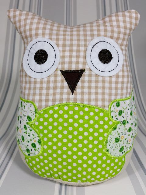 Owl, Patchwork, Green, Fabric