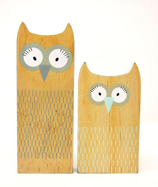Owls, Abstract, Wood, Figures, Funny, Cute, Painted