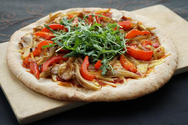 Pizza, Vegan, Oyster Mushroom, Paprika, Arugula, Meal
