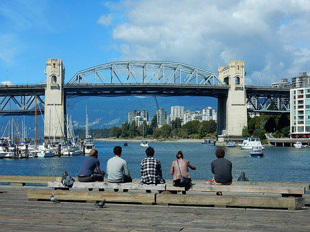 Burrard Street Bridge, Vancouver, False Creek, Pacific