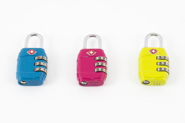 Padlock, Blue, Pink, Yellow, Lock, Combination Lock