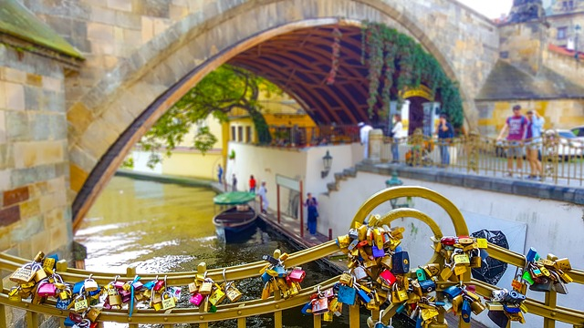 Prague, Key, Lock, Chain, Locket, Padlock, Bridge