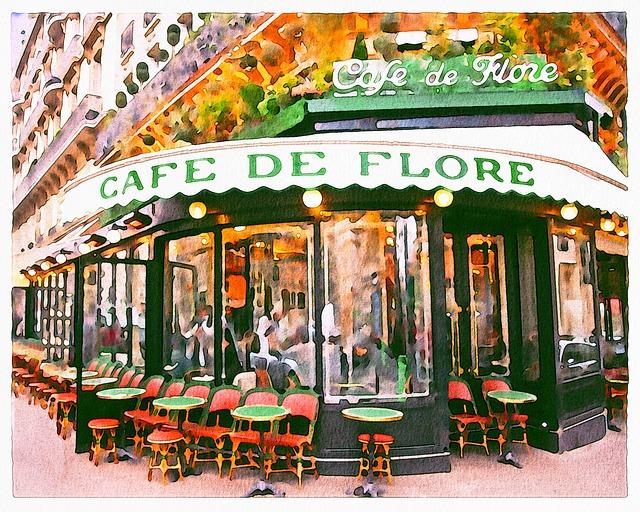 Cafe De Flore, Watercolor Painting, Wine, Paint