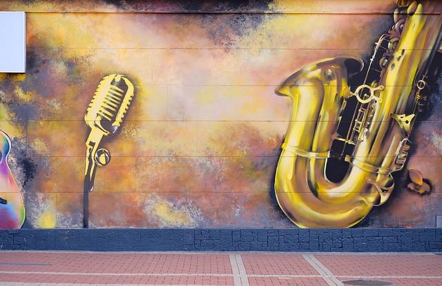 Paint, Street, Wall, Grafitti, Music, Instruments