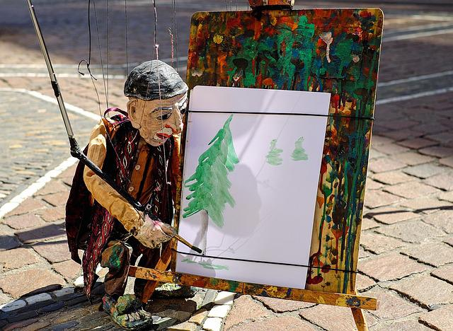 Puppet, Fig, Artists, Paint, Puppeteer, Road