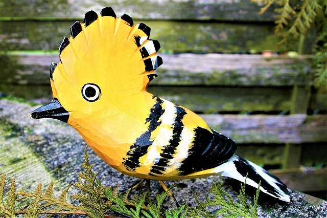Bird, Wooden, Carved, Painted, On The Outside Of The