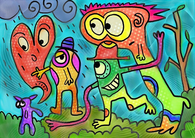 Painting, Painted, Ink, Cartoon, Doodle, People