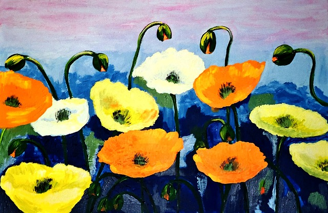 Painted Poppies, Acrylic Paint, Brush Strokes, Artistic