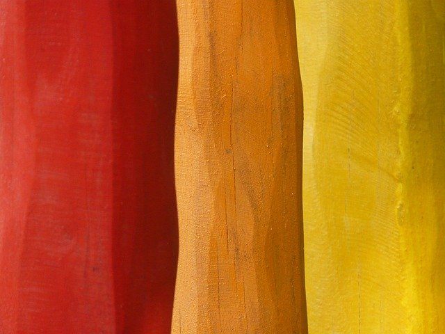 Wood, Painted, Rods, Colorful, Red, Orange, Yellow