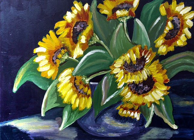 Painted Sunflower, Acrylic Paint, Canvas, Brush Strokes