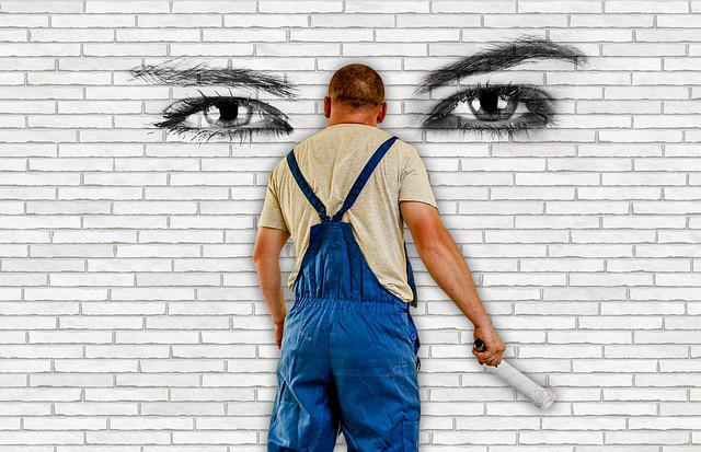 Painter, House Painter, Wall, Eyes, Stones, Paint