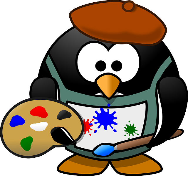 Painter, Tux, Art, Artist, Beret, Blotch, Brush, Colour