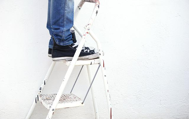 Ladder, Painter, Paint, Worker, White Background