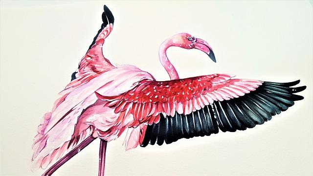 The Greater Flamingo, Bird, Animal, Art, Painting