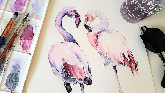 Art, Painting, The Greater Flamingo, Bird, Animal, Pink