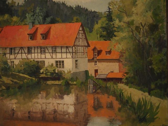 Image, Painting, Bear Mill, Fachwerkhaus, Landgasthof