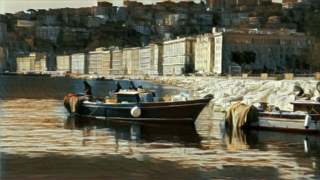 Naples, Boat, Painting