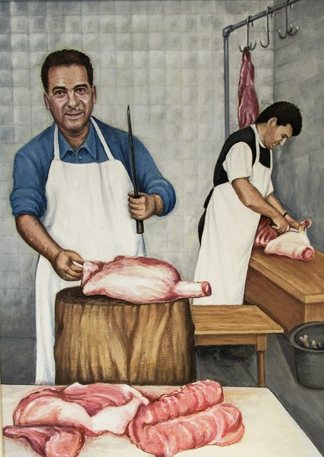 Cyprus, Traditional, Butchery, Painting, Meat, Food