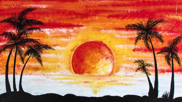 Sunset, Palms, Beach, Vacation, Cyprus, Painting, Wall