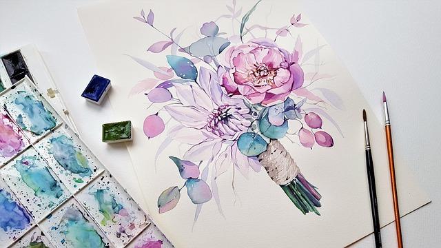 Art, Painting, Brushes, Colors, Watercolor, Bouquet