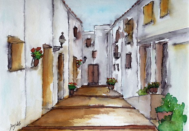 Alley, Watercolour, Painting