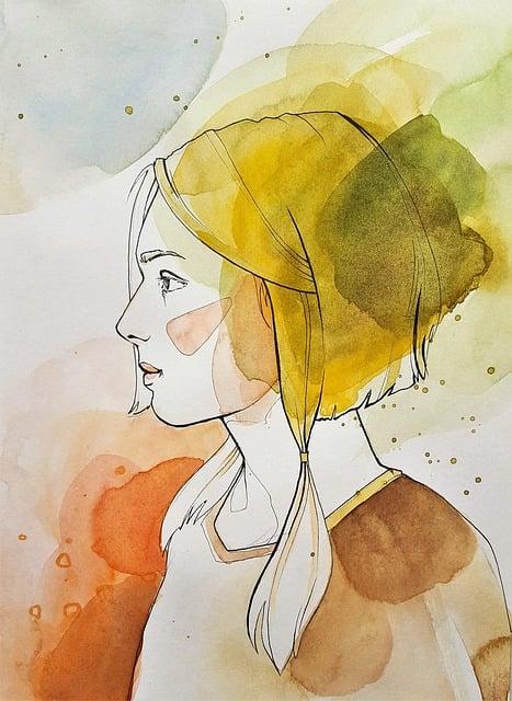 Art, Painting, Woman, Girl, Watercolor, Paper, Profile