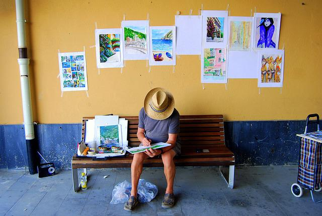 Street Performer, Painter, Bench, Painting, Paintings