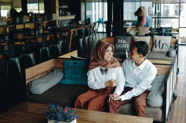 Pair, Romantic, Couple, Prewedding, Happy, Cafe, Smile