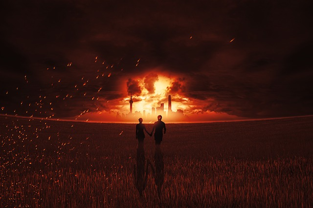 Fire, Brand, Explosion, Skyline, Pair, Human, Personal