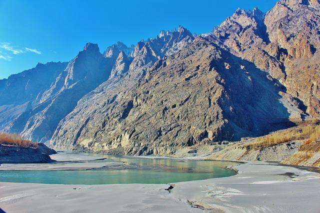 Hunza, Pakistan, River, Mountain, Landscape, Valley