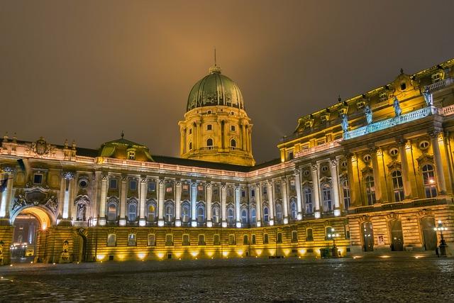 Night, Winter, Buda, Castle, Budapest, Palace