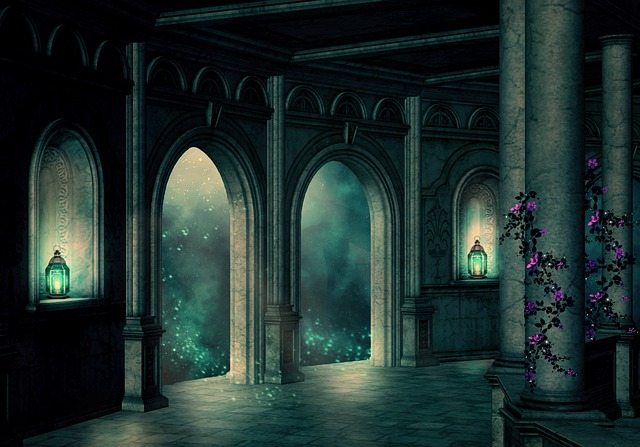 Palace, Starry Sky, Clouds, Candles, Columnar