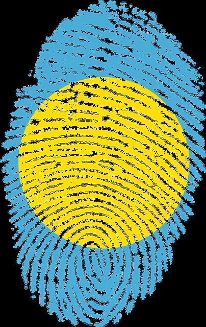 Palau, Flag, Fingerprint, Country, Pride, Identity