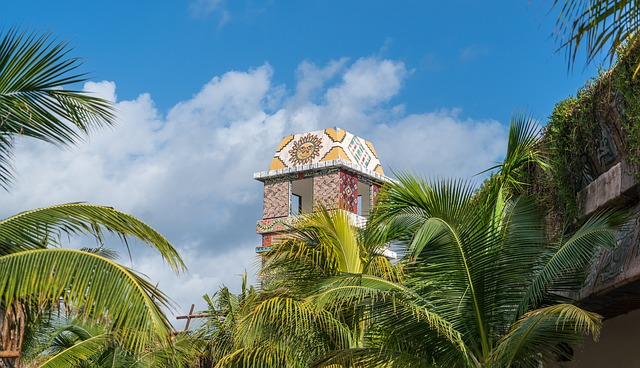 Tower, Costa Maya, Palm, Tree, Sky, Summer, Travel