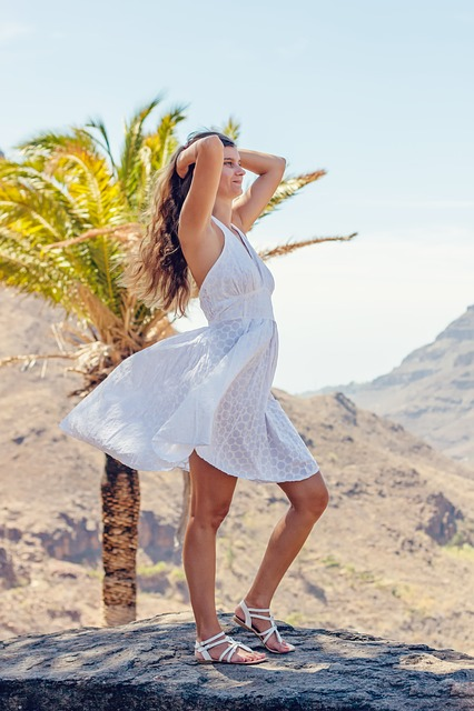 Woman, Young Woman, Palm Tree, White Dress, Holiday