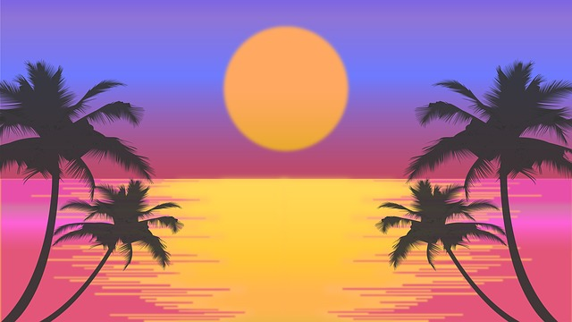 Sunset, Beach, Palm Trees, Sun, Retro, Retro Sunset