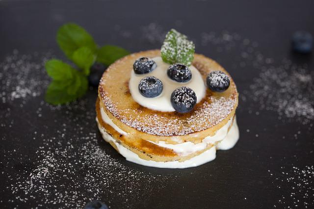 Pancake, Breakfast, Eat, Blueberries, Cream, Food