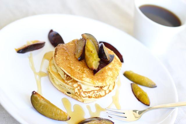 Protein, Pancakes, Pancake, Coffee, Fruit, Honey, Plums