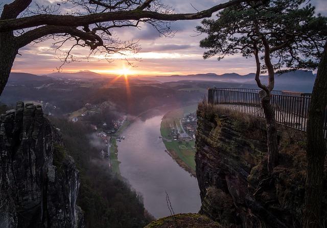 Nature, Landscape, Tree, Panorama, Dawn, Bastei, Saxony