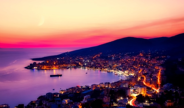 Sarande, Albania, Panorama, City, Urban, Bay, Harbor