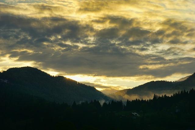 Mountains, Sunset, Dramatic, Clouds, Dusk, Panorama