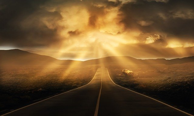 Road, Landscape, Horizon, Straight, Clouds, Panorama